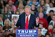 Republican presidential candidate billionaire Donald Trump mocks disabled New York Times reporter Serge Kovaleski during a campaign rally at the Myrtle Beach Convention Center November 24, 2015 in Myrtle Beach, South Carolina.