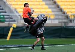 New Zealand's Waisake Naholo during the captain's run at the Westpac Stadium, Wellington.