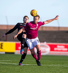 Clyde's Barry Cuddihy and Arbroath's Steven Doris. half time : Arbroath 0 v 1 Clyde, Tunnocks Caramel Wafer Challenge Cup 4th Round, played 12/10/2019 at Arbroath's home ground, Gayfield Park.