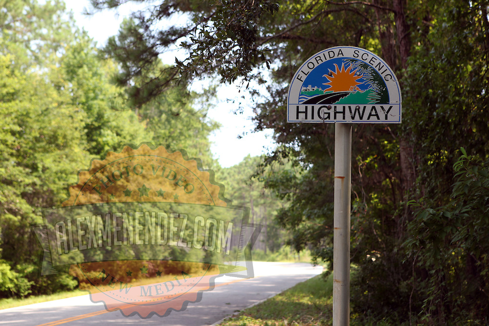 A Florida Scenic Highways sign along the Big Bend Scenic Highway in the Apalachicola National Forest in Florida. (AP Photo/Alex Menendez) Florida scenic highway photos from the State of Florida. Florida scenic images of the Sunshine State.