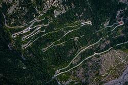 THEMENBILD - Serpentinen der Strasse. Der Ploeckenpass (1357 m ü. A), ist eine Passstrasse in den Karnischen Alpen und verbindet das Oesterreichische Koetschach-Mauthen im Gailtal mit dem italienischen Timau in Friaul, aufgenommen am 16. August 2019 in Timau, Italien // the Ploeckenpass (1357 m above sea level), is a pass road in the Carnic Alps and connects the Austrian Koetschach-Mauthen in the Gailtal with the Italian Timau in Friaul, Italy on 2019/08/16. EXPA Pictures © 2019, PhotoCredit: EXPA/ JFK