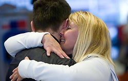 Saso with his mother at reception of third placed Saso Bertoncelj at European Championships in artistic gymnastics in Birmingham 2010, on April 26, 2010, at Airport Joze Pucnik, Brnik, Slovenia. (Photo by Vid Ponikvar / Sportida)