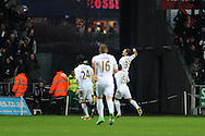 Swansea city's Ben Davies (33) celebrates after he scores the 1st goal. Barclays premier league, Swansea city v Stoke city at the Liberty Stadium in Swansea on Saturday 19th Jan 2013. pic by Andrew Orchard, Andrew Orchard sports photography,
