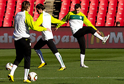 Suad Filekovic (R) of Slovenia warm up during training session at Ellis Park on June 17, 2010 in Johannesburg, South Africa. Slovenia will play their next FIFA World Cup Group C match against USA at Ellis Park in on Friday June 18, 2010, in Johannesburg, South Africa. (Photo by Vid Ponikvar / Sportida)