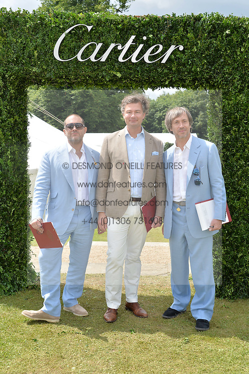 Left to right, SIR JONATHAN IVE, LAURENT FENIOU MD of Cartier UK and MARC NEWSON at the Cartier hosted Style et Lux at The Goodwood Festival of Speed at Goodwood House, West Sussex on 26th June 2016.