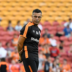 BRISBANE, AUSTRALIA - JANUARY 28: Brisbane Roar Assistant Coach Ross Aloisi looks on during warm up of the round 17 Hyundai A-League match between the Brisbane Roar and Western Sydney Wanderers at Suncorp Stadium on January 28, 2017 in Brisbane, Australia. (Photo by Patrick Kearney/Brisbane Roar)