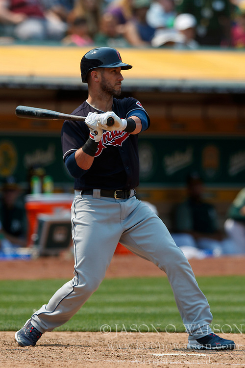 OAKLAND, CA - JULY 01: Yan Gomes #7 of the Cleveland Indians at bat against the Oakland Athletics during the eighth inning at the Oakland Coliseum on July 1, 2018 in Oakland, California. The Cleveland Indians defeated the Oakland Athletics 15-3. (Photo by Jason O. Watson/Getty Images) *** Local Caption *** Yan Gomes