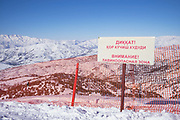 Avalanche warning sign in Beldersay ski resort on 27th February 2014 in Uzbekistan.