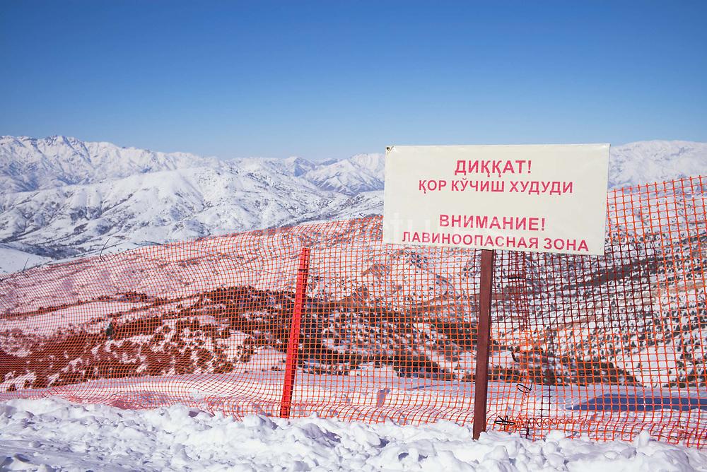 Avalanche warning sign in Beldersay ski resort on 27th February 2014 in Uzbekistan.