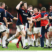 24 May 2008;  Munster's Marcus Horan runs to celebrate at the final whistle. Heineken Cup Final, Munster v Toulouse, Millennium Stadium, Cardiff, Wales. Picture credit: Oliver McVeigh / SPORTSFILE