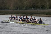 London. UNITED KINGDOM.  160th BNY Mellon Boat Race on the Championship Course, River Thames, Putney/Mortlake.  Saturday  05/04/2014    [Mandatory Credit. Intersport Images]<br /> <br /> The 19th Oxford & Cambridge Veterans' Race<br /> From Putney Stone to Furnivall Steps.<br /> <br /> Oxford University<br /> <br /> Bow, G. R. Nicholas Holland, 2, Donald McDonald, 3, Kingsley Poole, 4, Andrew Landon-Green, 5, Roberto Blanda, 6, Toby Ayer, 7, Gerritjan Eggenkamp, Stroke, Barney Williams, Cox, Katie Apfelbaum