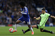 Willian of Chelsea goes past Martin Demichelis of Manchester City. The Emirates FA Cup, 5th round match, Chelsea v Manchester city at Stamford Bridge in London on Sunday 21st Feb 2016.<br /> pic by John Patrick Fletcher, Andrew Orchard sports photography.