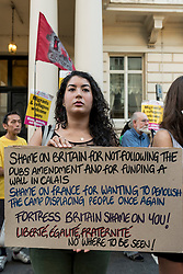 © Licensed to London News Pictures. 07/09/2016. London, UK. Supporters of 'Stand up to Racism' take part in a demonstration outside the Embassy of France in Knightsbridge to show solidarity with refugees at the Calais Jungle refugee camp.   Photo credit : Stephen Chung/LNP