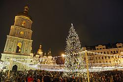 December 19, 2016 - Kiev, Ukraine - The main Christmas Tree of Ukraine lit up,at St. Sophia's Square,in Kiev,Ukraine,19 December,2016. (Credit Image: © Str/NurPhoto via ZUMA Press)