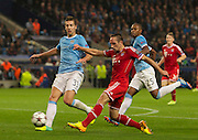 02.10.2013 Manchester, England.  Bayern Munich  Franck Ribery fires in another shot during the Group D UEFA Champions League game between, Manchester City and Bayern Munich from the Etihad Stadium.