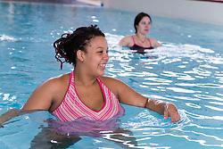 Pregnant women taking part in an Aquanatal class,