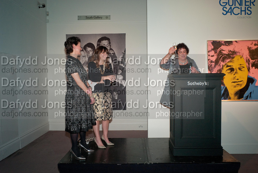 MELANIE CLORE; ALEXANDRA SHULMAN;  JULIET ANNAN, Can we Still Be Friends- by Alexandra Shulman.- Book launch. Sotheby's. London. 28 March 2012.