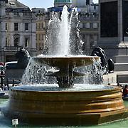UK Weather - The Hottest week in June 2019, in Trafalgar Square fountian on 27 June 2019, London, UK