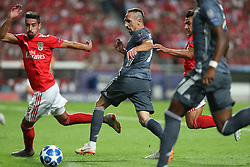 September 19, 2018 - Lisbon, Portugal - Bayern Munich's midfielder Franck Ribery from France (C ) vies with Benfica's Portuguese defender Andre Almeida during the UEFA Champions League Group E football match SL Benfica vs Bayern Munich at the Luz stadium in Lisbon, Portugal on September 19, 2018. (Credit Image: © Pedro Fiuza/ZUMA Wire)