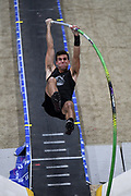 Michael Carr places 10th in the elite men's competition at 17-8 1/2 (5.40m) during the National Pole Vault Summit, Friday, Jan. 17, 2020, in Reno, Nev.