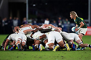 The scrum during the Rugby World Cup  final match between England and South Africa at the International Stadium ,  Saturday, Nov. 2, 2019, in Yokohama, Japan. South Africa defeated England 32-12. (Florencia Tan Jun/ESPA-Image of Sport)