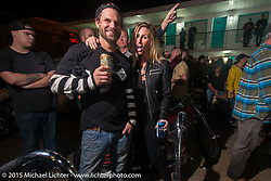 Harley-Davidson sponsored Friday evening party in the hotel parking lot before the Race of Gentlemen. Wildwood, NJ, USA. October 9, 2015.  Photography ©2015 Michael Lichter.
