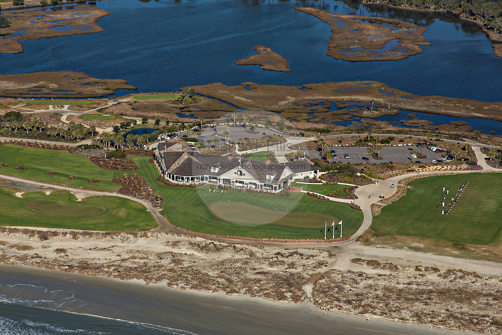 Aerial view of The Ocean Golf Course clubhouse on Kiawah Island, South Carolina.