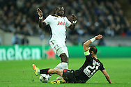 Moussa Sissoko of Tottenham Hotspur is stopped by by Omer Toprak, the Bayer Leverkusen captain. UEFA Champions league match, group E, Tottenham Hotspur v Bayer Leverkusen at Wembley Stadium in London on Wednesday 2nd November 2016.<br /> pic by John Patrick Fletcher, Andrew Orchard sports photography.
