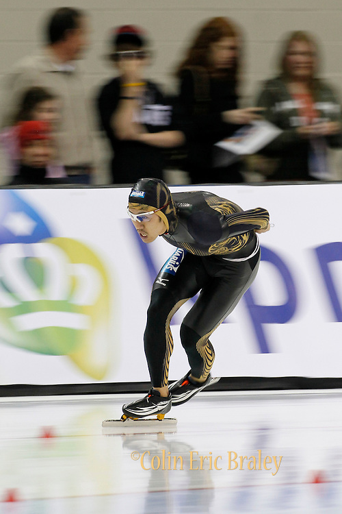 Norimasa Zaike of Japan, competes in the men's 10,000-meter World Cup speedskating competition at the Utah Olympic Oval in Kearns, Utah, Saturday, Feb. 19, 2011. (AP Photo/Colin E Braley)