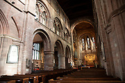 Interior of the knave towards stained glass windows in Church of England denomination Shrewsbury Abbey in Shrewsbury, United Kingdom. The Abbey Church of Saint Peter and Saint Paul, Shrewsbury is an ancient foundation in Shrewsbury, the county town of Shropshire, England. The Abbey was founded in 1083 as a Benedictine monastery by the Norman Earl of Shrewsbury, Roger de Montgomery.