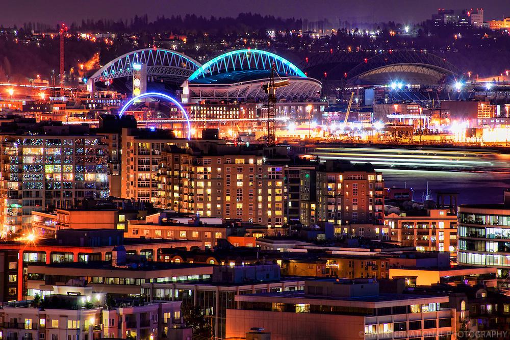 Belltown & Seattle Stadiums @ Night