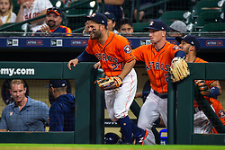 April 13, 2018 - Houston, TX, U.S. - HOUSTON, TX - APRIL 13: Houston Astros second baseman Jose Altuve (27) takes the field prior to an MLB game between the Houston Astros and the Texas Rangers and April 13, 2018 at Minute Maid Park in Houston, TX.  (Photo by Juan DeLeon/Icon Sportswire) (Credit Image: © Juan Deleon/Icon SMI via ZUMA Press)