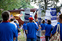 Mitt Romney supporters gather around the stage at Rollins Park in Concord for the Tea Party Express Tour on Sunday evening.  (Karen Bobotas/for the Concord Monitor)Tea Party Express at Rollins Park in Concord, NH Sunday, September 4, 2011.  (Karen Bobotas/for the Concord Monitor)