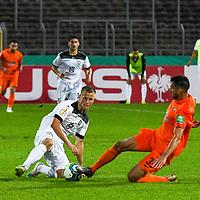 12.09.2020, Donaustadion, Ulm, GER, DFB Pokal, SSV Ulm 1846 Fussball vs FC Erzgebirge Aue, <br /> DFL REGULATIONS PROHIBIT ANY USE OF PHOTOGRAPHS AS IMAGE SEQUENCES AND/OR QUASI-VIDEO, <br /> im Bild Adrian Beck (Ulm, #8), Ognjen Gnjatic (Aue, #33)<br /> <br /> Foto © nordphoto / Hafner