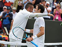 Tennis - 2019 Wimbledon Championships - Week One, Tuesday (Day Two)<br /> <br /> Men's Singles, 1st Round: Nick Kyrgios (AUS) v Jordan Thompson (AUS)<br /> <br /> Nick Kyrgios  at the net after the match on Court 3<br /> <br /> COLORSPORT/ANDREW COWIE