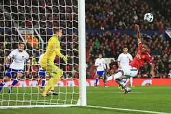 12th September 2017 - UEFA Champions League - Group A - Manchester United v FC Basel - Anthony Martial of Man Utd misses at close range - Photo: Simon Stacpoole / Offside.
