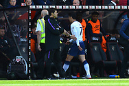 Red Card - Son Heung-Min (7) of Tottenham Hotspur walks past Tottenham Hotspur manager Mauricio Pochettino as he goes down the tunnel after being sent off during the Premier League match between Bournemouth and Tottenham Hotspur at the Vitality Stadium, Bournemouth, England on 4 May 2019.