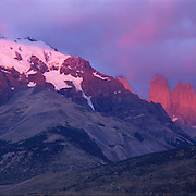 The Torres del Paine (Towers of Blue) rise sharply in Torres del Paine National Park, Patagonia, Chile.