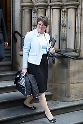 © Licensed to London News Pictures  . 03/10/2017 . Manchester , UK . ARLENE FOSTER MLA , leader of the Democratic Unionist Party ( DUP ) leaves a fringe event in the Big Hall in Manchester Town Hall during day three of the Conservative Party Conference at the Manchester Central Convention Centre . Photo credit : Joel Goodman/LNP