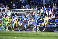 Dna Harding of Millwall has a long range shot at goal blocked by Cardiff's Peter Whittingham. Skybet football league championship, Cardiff city v Millwall at the Cardiff city stadium in Cardiff, South Wales on Saturday 18th April 2015<br /> pic by Andrew Orchard, Andrew Orchard sports photography.