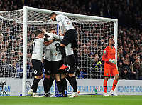 Football - 2018 / 2019 EFL Carabao (League) Cup - Fourth Round: Chelsea vs. Derby County<br /> <br /> Martyn Waghorn of Derby celebrates scoring goal no 2 with team mates. Willy Caballero (right), at Stamford Bridge.<br /> <br /> COLORSPORT/ANDREW COWIE