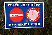 No Entry Disease Precautions sign for High Health Stock at Rattlerow Farms, Suffolk, England