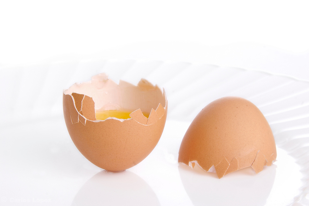 Still life of  two  eggs on a plate.