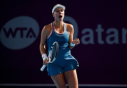 DOHA, Feb. 13, 2019  Anett Kontaveit of Estonia celebrates after winning the single's first round match against Zhu Lin of China at the 2019 WTA Qatar Open in Doha, Qatar, on Feb. 12, 2019. Anett Kontaveit won 2-0. (Credit Image: © Yangyuanyong/Xinhua via ZUMA Wire)