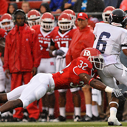 Sep 12, 2009; Piscataway, NJ, USA; When returning a kickoff Howard wide receiver Brandon Drayton (6) is tackled by Rutgers cornerback Duron Harmon (32) during the first half of Rutgers' 45-7 victory over Howard in NCAA College Football at Rutgers Stadium.