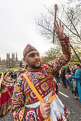 The Edinburgh Diwali celebration culminates in a procession from the City Chambers on the historic Royal Mile to the Princes Street Gardens. Celebrated throughout the world by Hindus, Seikhs and Jains, the Festival of Light symbolises the victory of good over evil. People celebrate Diwali through distributing sweets, gifts and thanks giving to each other.<br /> Pictured: Performers from Scottish Indian Arts Forum