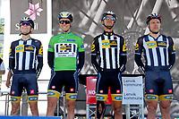 Sykkel<br /> Artic Race 2015<br /> Foto: imago/Digitalsport<br /> NORWAY ONLY<br /> <br /> Das Team MTN Qhubeka p/b Samsung mit Louis MEINTJES (RSA/SAF) - Edvald BOASSON HAGEN (NOR) - Jayde JULIUS (RSA/SAF) - Gerald CIOLEK (GER) bei der Einschreibung - Teamvorstellung - Fahrerpraesentation - Signing - Querformat - quer - horizontal - Event / Veranstaltung: 3. Arctic Race of Norway 2015 - Stage 3 / 3.Etappe: Senja nach Malselv 175.0km - Location / Ort: Malselv - Troms - Norway - Norwegen - Europe - Europa - Date / Datum: 15.08.2015