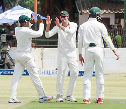 Zimbabwe captain Graeme Cremer celebrates a wicket during the second day of the 100th test match for Zimbabwe played in a match with Sri Lanka at Harare Sports Club 30 October 2016.