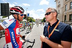 Blaz Jarc of Adria Mobil and coach Miran Kavas of Sava Kranj during 44th Grand Prix Kranj - Filip Majcen Memorial 2011, UCI Cat. 1.1 (177,3 km) cycling race, on July 2, 2011, in Kranj, Slovenia. (Photo by Vid Ponikvar / Sportida)