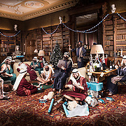 A photoshoot for the Christmas card for creative agency The Escape depicting their staff dressed as shepherds in various humorous poses.